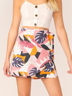 Wrap Front Side Tie Tropical Leaf Print Mini Skirt