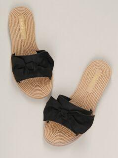 Woven Raffia Sole Bow Accent Flat Slide Sandals