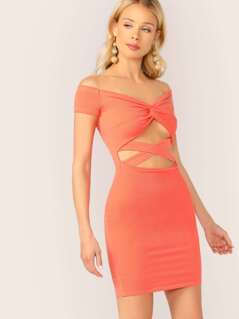 Ribbed Twist Cut Out Ribbed Bardot Mini Dress