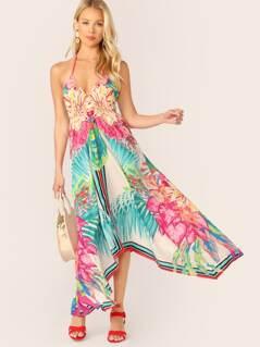 Sleeveless Tropical Stripe Handkerchief Hem Dress