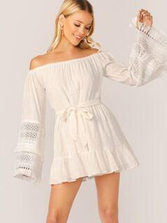 Off Shoulder Fringe Lace Sleeve Waist Tie Dress