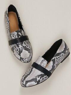 Almond Toe Strap Detail Snakeskin Slip On Loafers