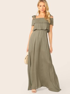 Cold Shoulder Tie Straps Ruffle Overlay Maxi Dress