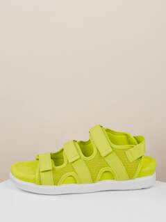Neon Triple Velcro Band Open Toe Chunky Sandals