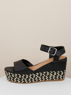 Open Toe Ankle Strap Arrow Detail Wedge Sandals