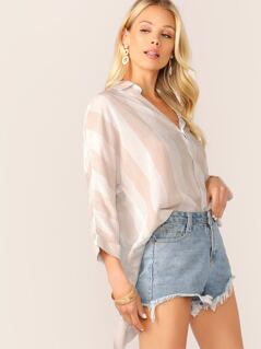 Button Up Stripe Dip Hem Long Sleeve Shirt
