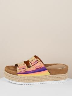 Iridescent Double Buckle Strap Flatform Sandals