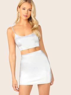 Reflective Scoop Neck Crop Top And Mini Skirt Set