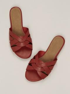 Interlock Band Open Toe Flat Slide Sandals