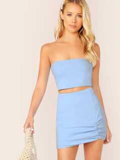 Rib Knit Crop Tube Top And Mini Skirt Set