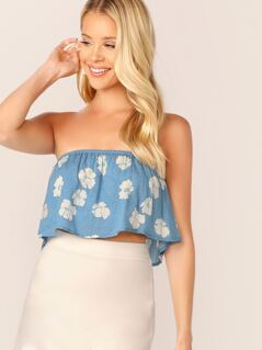 Strapless Floral Ruffle Crop Tube Top