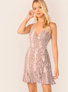 Snakeskin Sleeveless Ruffle Trim Mini Wrap Dress