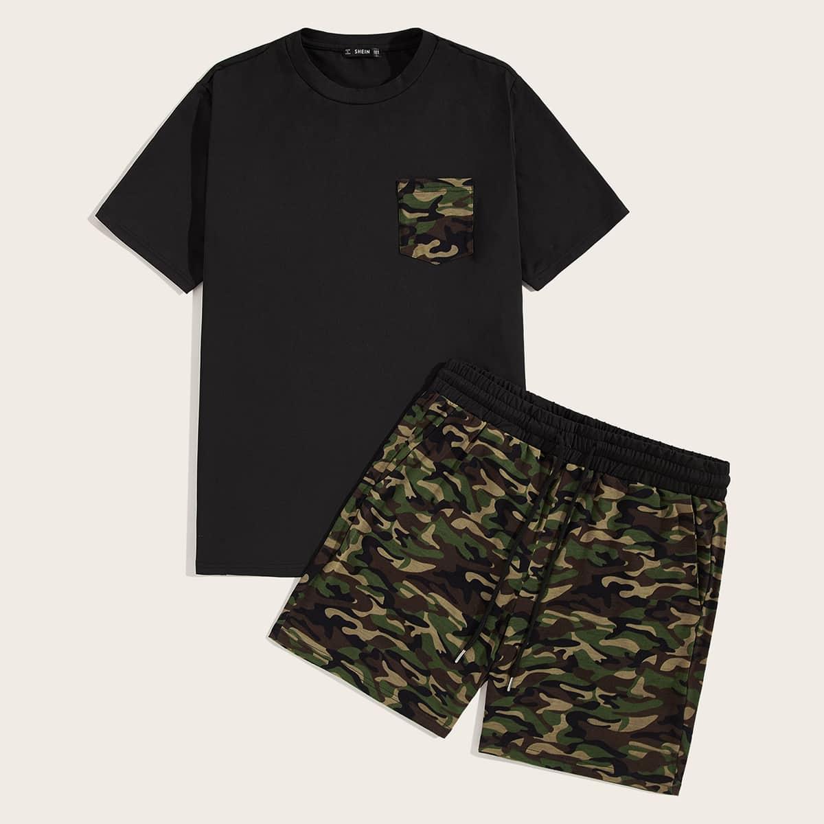 Мужские футболка с карманом и шорты с камуфляжным принтом от SHEIN