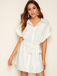 Batwing Sleeve Rolled Cuff Self Belted Shirt Dress
