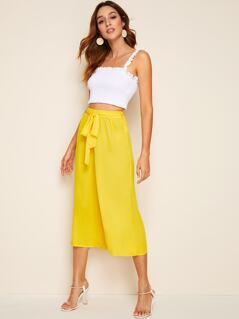 Self Belted Wide Leg Solid Pants