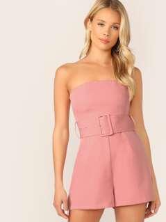 Belted Waist Side Pockets Strapless Romper