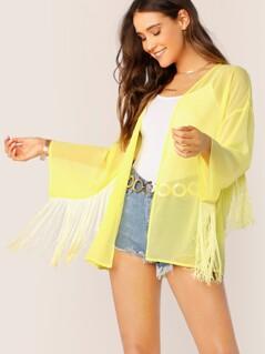 Neon Yellow Open Front Fringe Detail Sheer Kimono