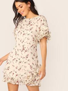 Layered Ruffle Sleeve Ditsy Floral Print Crepe Dress