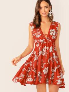 Deep V Neck Floral Print Frill Trim Swing Dress