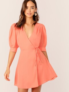 Puff Sleeve Tie Side Wrap Dress