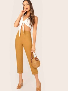 Solid Rolled Hem Crop Cigarette Pants
