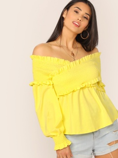 Neon Yellow Frill Crisscross Wrap Shirred Top
