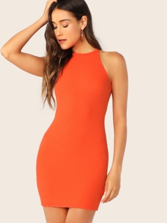 Rib-knit Halterneck Bodycon Dress