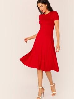 Solid Fit & Flare Midi Dress