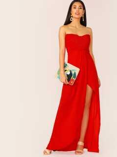 Frill Trim Shirred Bodice Split Thigh Tube Dress