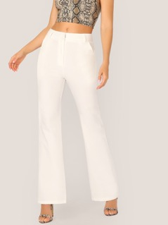 Solid Slant Pocket Flare Leg Pants