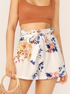 Paperbag Waist Slant Pocket Floral Print Shorts