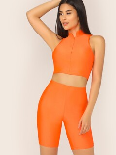 Neon Orange Zip Front Tank Top & Cycling Shorts Set