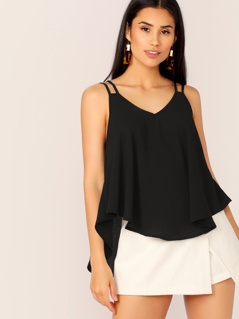 Strappy Back Asymmetrical Hem Flowy Top