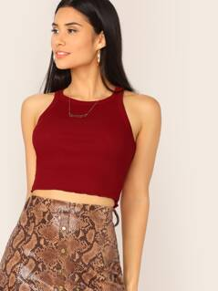 Rib-Knit Lettuce Trim Solid Crop Top