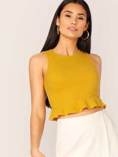 Rib-knit Peplum Crop Tank Top