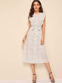 Heart Print Ruffle Trim Belted Shirt Dress