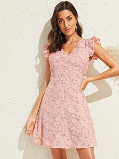 Ruffle Armhole Pearls Beaded Front Floral Dress