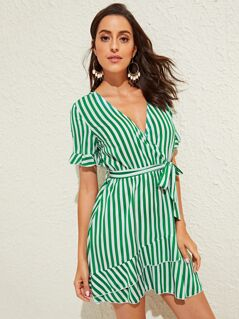 Surplice Neck Layered Ruffle Hem Belted Stripe Dress