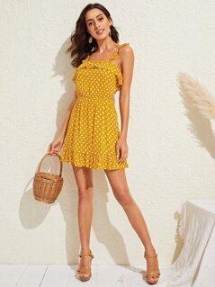 Polka-dot Print Ruffle Hem Slip Dress