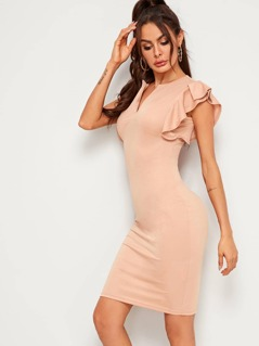 Solid Ruffle Armhole Pencil Dress