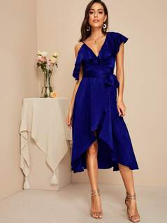 Plunging Ruffle Trim Wrap Satin Dress