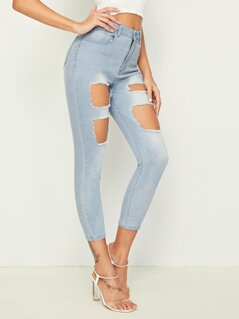 Ripped Detail Light Wash Crop Jeans