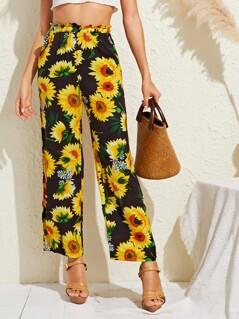 Ruffle Waist Sunflower Print Straight Leg Pants