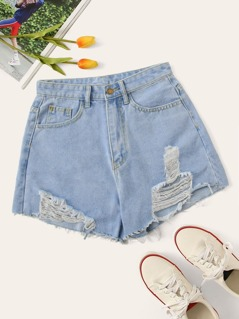 Ripped Detail Bleach Wash Denim Shorts