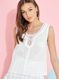 Lace Trim Frilled Sleeveless Blouse