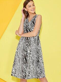 Button Front Zebra Print Dress