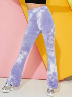 Wide Waist Tie Dye Flared Leg Pants