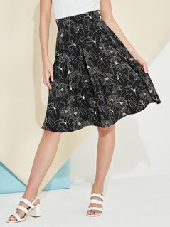 Outline Monochrome Floral Print Skirt
