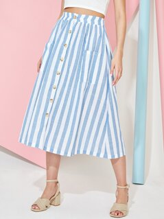 Button Fly Striped Pocket Front Skirt
