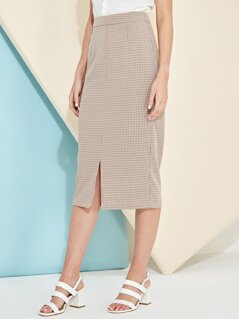 Split Front Plaid Pencil Skirt
